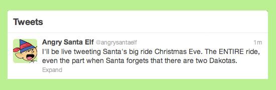 Angry Santa Elf Live Tweet