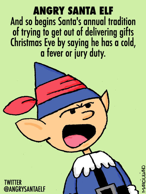 Angry Santa Elf Post Cold Fever Card