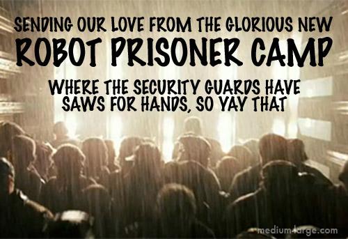 Robot Prisoner Future Postcard