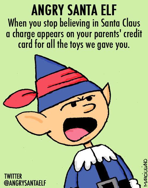 Angry Santa Elf Believing