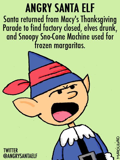 Angry Santa Elf Happy Snoopy Sno-Cone