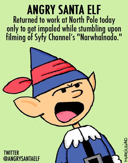 Angry Santa Elf Narwhal Card