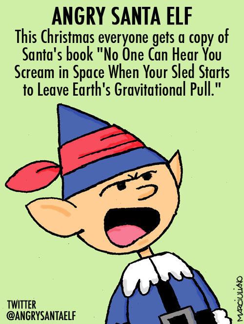 Angry Santa Elf Santa's Book