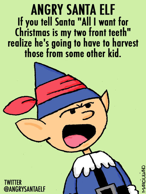 Angry Santa Elf Two front Teeth