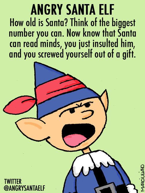 Angry Santa Elf Santa's Age