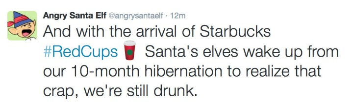 Angry Santa Elf Red Cup Twitter 2015